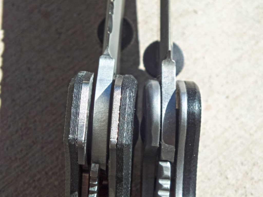 Further edge comparison of the Emerson CQC-8 and the Kershaw CQC-6K again shows better fit and finish on the Kershaw.